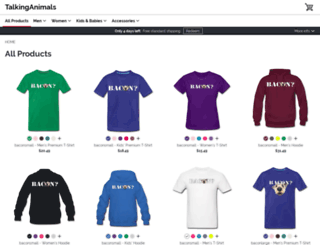 talkinganimals.spreadshirt.com screenshot