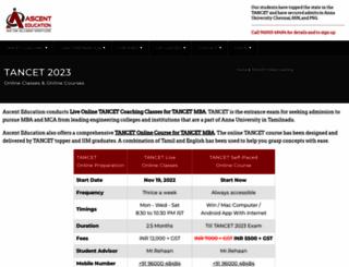tancet.ascenteducation.com screenshot