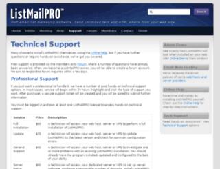 tech.listmailpro.com screenshot