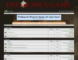 thegeniusgame.proboards.com screenshot