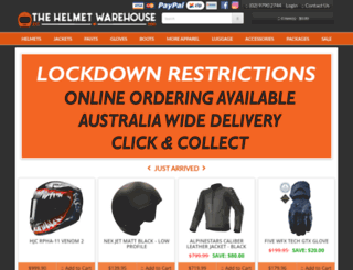 thehelmetwarehouse.com.au screenshot