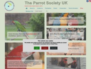 theparrotsocietyuk.org screenshot