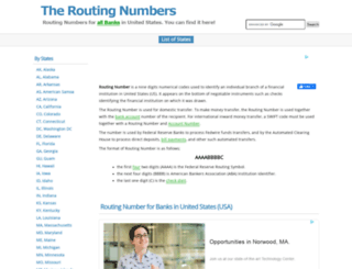 theroutingnumber.com screenshot