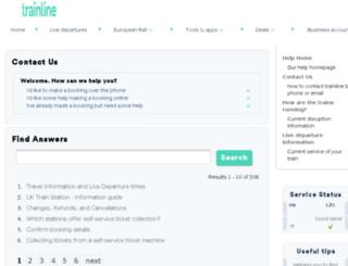 thetrainline.custhelp.com screenshot