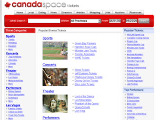 tickets.canadaspace.com screenshot