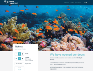 tickets.palmaaquarium.com screenshot