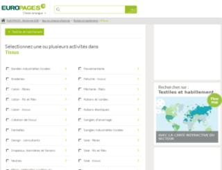 tissus.europages.fr screenshot