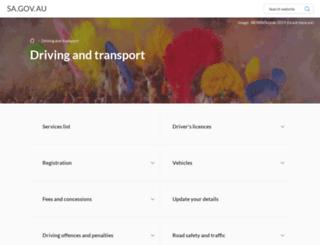 transport.sa.gov.au screenshot