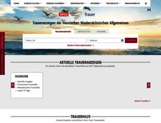 trauer.hna.de screenshot