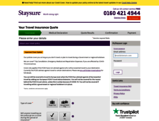 travelinsurance.staysure.co.uk screenshot