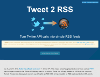 tweet-2-rss.appspot.com screenshot
