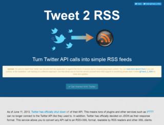 tweet-2-rss.appspot.com screenshot