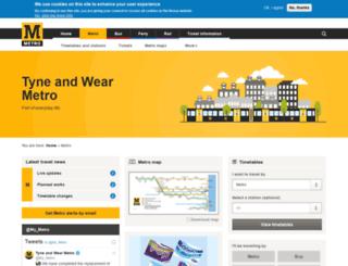tyneandwearmetro.co.uk screenshot