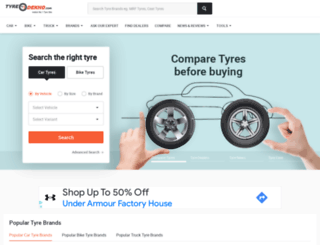 tyres.cardekho.com screenshot