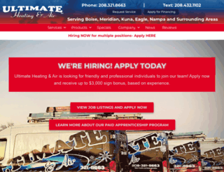 ultimateheatingandair.com screenshot