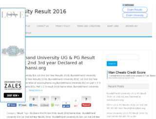 universityresult2016.in screenshot