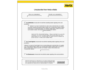 unsubscribe.hertz.com screenshot