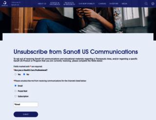 unsubscribe.sanofi-aventis.us screenshot