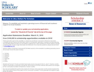 utica.dollarsforscholars.org screenshot