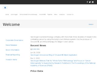 vaccinogeninc.investorroom.com screenshot