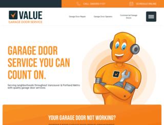 valuegaragedoorservice.com screenshot