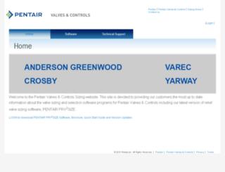 valvesizing.pentair.com screenshot