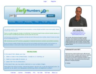 vanitynumbers.com screenshot