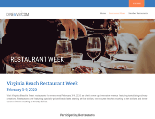 vbrestaurantweek.com screenshot