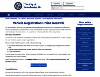 vehicleregistrationonlinerenewal.manchesternh.gov screenshot