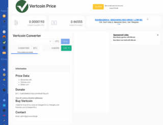 vertcoinprice.com screenshot