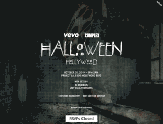 vevoxcomplexhalloween.splashthat.com screenshot