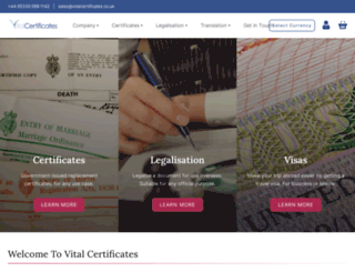 vitalcertificates.co.uk screenshot