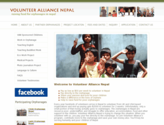 volunteeralliancenepal.org screenshot