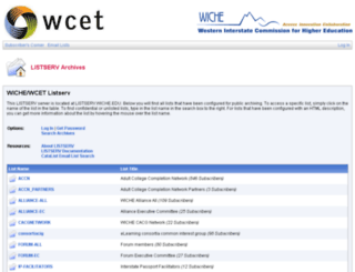 wcetlistserv.wiche.edu screenshot