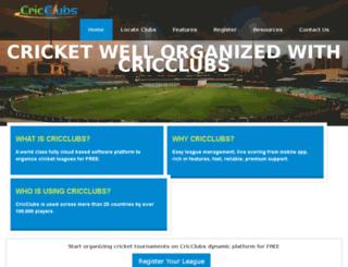 web.cricclubs.com screenshot