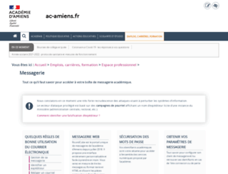 webmail.ac-amiens.fr screenshot
