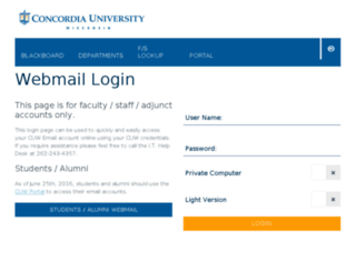 webmail.cuw.edu screenshot