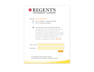 webmail.regents.ac.uk screenshot