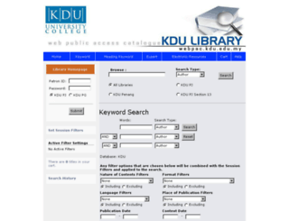 webpac.kdu.edu.my screenshot