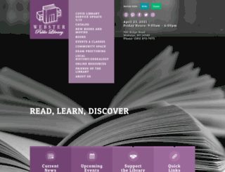websterlibrary.org screenshot