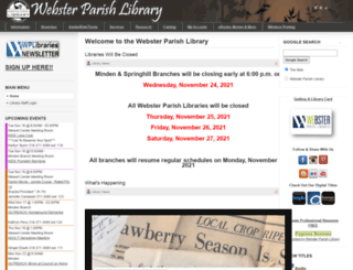 websterparishlibrary.org screenshot
