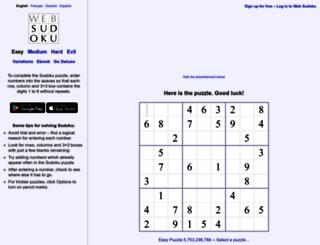 websudoku.com screenshot