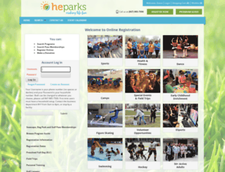 webtrac.heparks.org screenshot