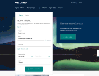 westjet.com screenshot