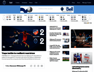 whitecapsfc.com screenshot