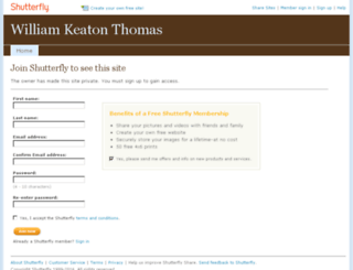 williamkeatonthomas.shutterfly.com screenshot