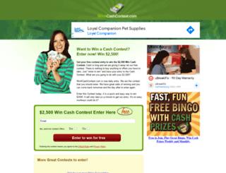 winacashcontest.com screenshot