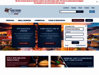 wisconsinbankandtrust.com screenshot
