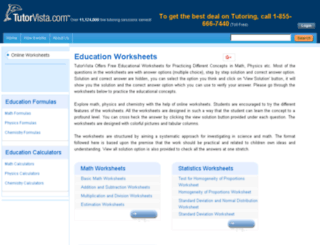 worksheets.tutorvista.com screenshot