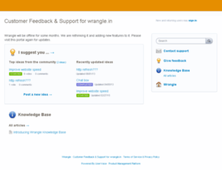 wrangle.uservoice.com screenshot